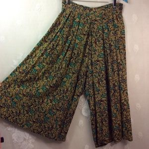Vintage Tan Black Teal Wide Leg Crop Pant Culottes